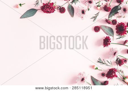 Flowers Composition. Eucalyptus Leaves And Pink Flowers On Pastel Pink Background. Valentines Day, M