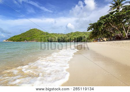 Beautiful Delightful Incredible Tropical Beach, White Sand, Blue Sky With Clouds, Postcard