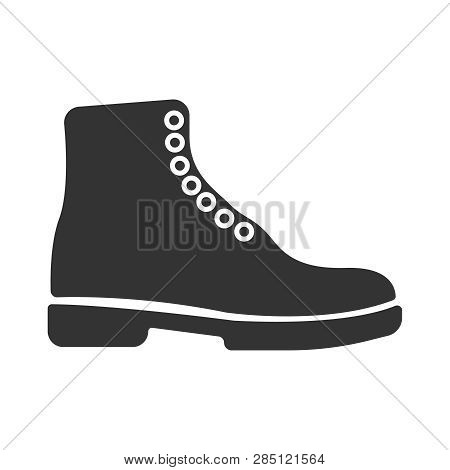 Simple Black Vector Boots Icon. Concept Tourism, Store, Shop. Hiking Boot Icon, Vector Illustration