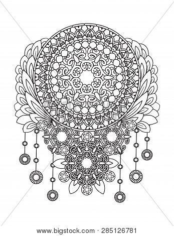 Adult Coloring Page. Dreamcatcher With Fmandalas And Flowers. Native American Indian Talisman. Black