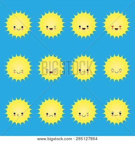 Smiling Sun Emoticons. Vector Cartoon Smile Sun Set. Cartoon Face Sun Illustration. Smiling Sun