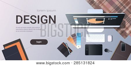 Graphic Designer Creative Workplace Design Studio Concept Top Angle View Desktop With Digital Tablet