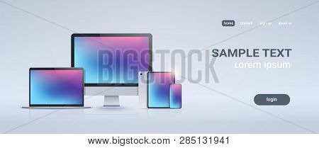 Electronic Devices Mockup Set Laptop Monitor Tablet And Smartphone With Colorful Screen On Gray Back