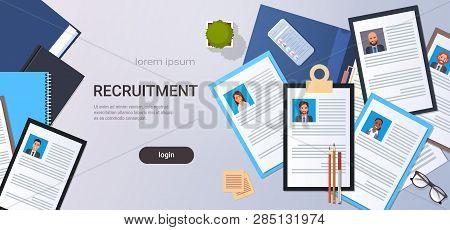 Curriculum Vitae Recruitment Candidate Job Position Cv Profile Top Angle View Workplace Desktop Smar