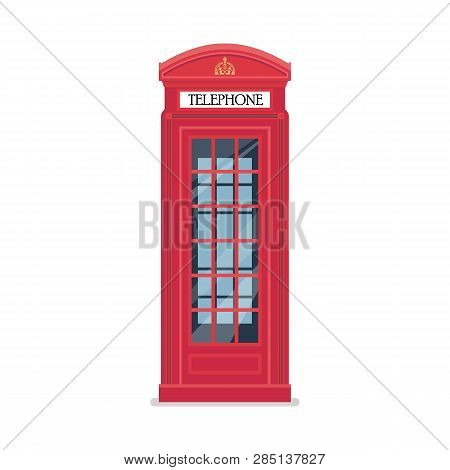 London Red Telephone Booth. Vector Illustration Graphic Design