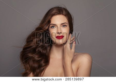 Woman With Ginger Curly Hair, Perfect Female Face. Red Haired Woman Portrait