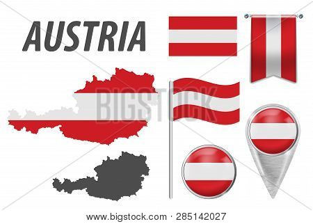 Austria. Collection Of Symbols In Colors National Flag On Various Objects Isolated On White Backgrou