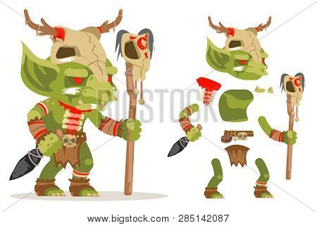 Shaman Goblin Dungeon Dark Wood Monster Evil Minion Fantasy Medieval Action Rpg Game Character Layer