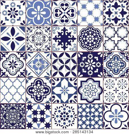 Portuguese Vector Azulejo Tile Seamless Pattern, Lisbon Retro Old Tiles Mosaic, Mediterranean Repeti