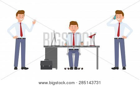 Young Happy Office Worker Sitting At The Desk, Waving Hello, Talking On Phone. Cartoon Character Des
