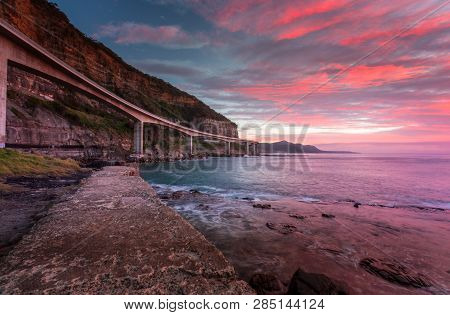 Sea Cliff Bridge Is Built Out From The Cliffs And Spans A Section Of The Illawarra Coastline After T