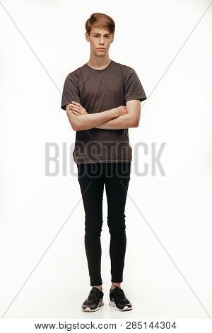 Confident And Cheerful Isolated Full Lenght Portrait Handsome Caucasian Male. Full Body Shot Looking