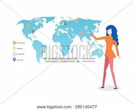 Woman Presenting Map With Legend Explanation Vector. World With Labels, Graphics And Location Pointe