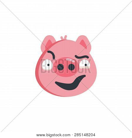 Piggy Sly Face Emoticon Flat Icon, Vector Sign, Colorful Pictogram Isolated On White. Sassy Face Emo
