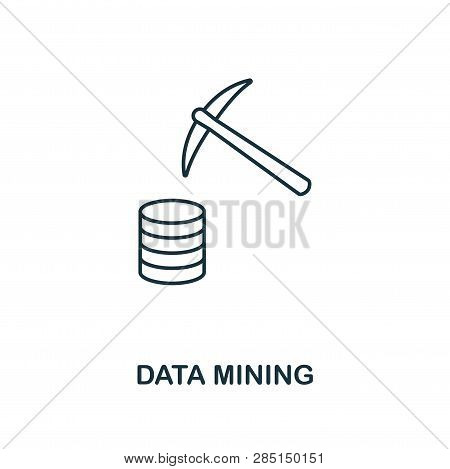 Data Mining Outline Icon. Thin Line Style From Big Data Icons Collection. Pixel Perfect Simple Eleme