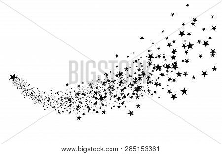 Black Shooting Star With Elegant Star Trail On White Background. Meteoroid, Comet, Asteroid, Stars.