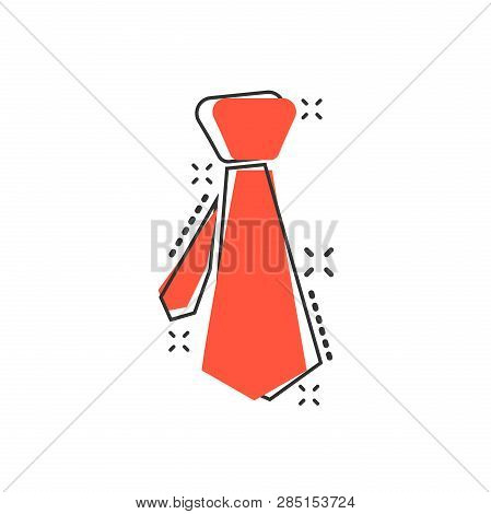 Vector Cartoon Tie Icon In Comic Style. Necktie Sign Illustration Pictogram. Tie Business Splash Eff