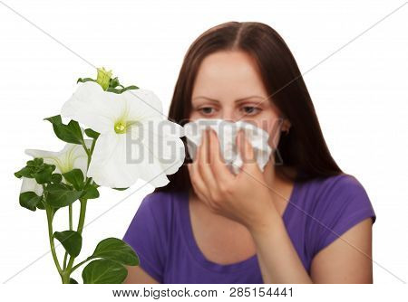 Sneezing, Eye Redness And Tearing, The Concept Of Allergic Symptoms In Girls Isolated On White Backg
