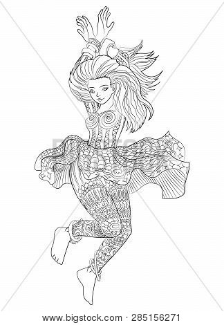 Beautifull Dancing Girl In A Patterned Dress. High Detailed Coloring Page For Grown Ups. Vector Illu
