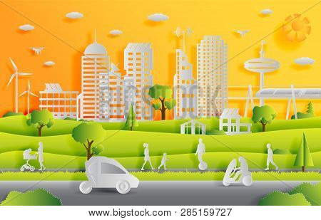 Concept Of Smart City With Technologies Of Future And Urban Innovations, Paper Cut Design Vector Ill