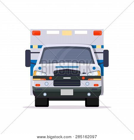 Front View Of Ambulance Car With Lights. Flat Style Vector Illustration. Vehicle And Transport Banne