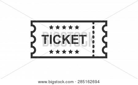 Cinema Ticket Icon In Flat Style. Admit One Coupon Entrance Vector Illustration On White Isolated Ba