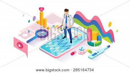Healthcare App Isometric Cyberspace And Tiny Person Concept Vector Illustration. Virtual Emergency H