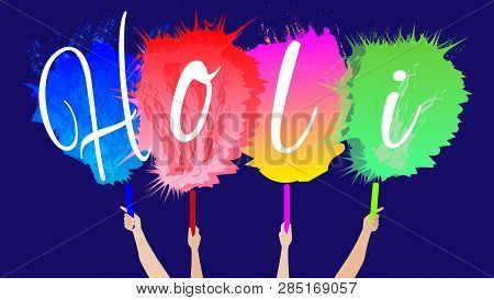 Indian Festival Of Colors Holi Happy. Drawing Elements To Design A Poster And Flyer, Gift Cards, Art