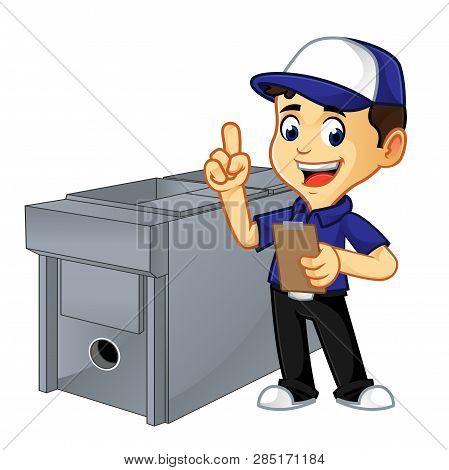 Hvac Cleaner Or Technician Doing Hvac Job List
