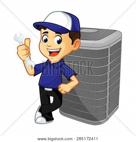 Hvac Cleaner Or Technician Leaning On Air Conditioner