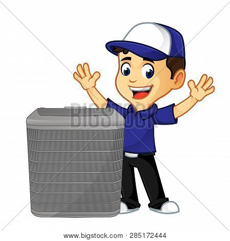 Hvac Cleaner Or Technician With Air Conditioner Happy