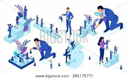 Isometric Set Of Business Big Businessman Running, Playing Chess, Creates Strategy. Vector People.