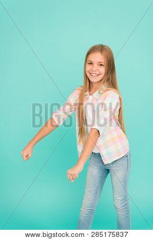 Wish I Had Bicycle. Girl Cute Child Pretend Riding Bike. Happy Childhood Activity. Dreams Come True.