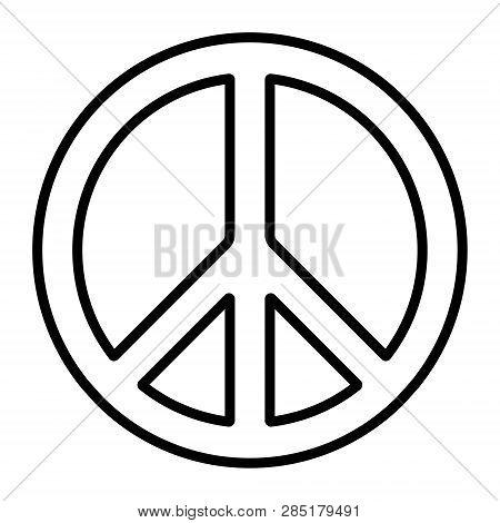 Pacific International Peace Symbol, Vector Pacific Disarmament Sign, Anti-war Movement, Contour Icon