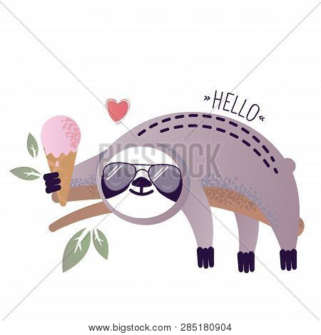 Vector Illustration Of A Kawaii Sloth  With Ice-cream. Greetings Postcard, Card, Invitation, Poster,