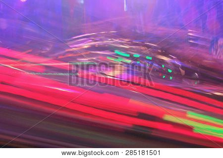 Funfair Fairground Disco Lights Neon Background Synthwave Night Colors Of The Amusement Park Lights