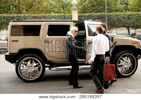 Paris, July 7, 2008: Karl Lagerfeld Is Getting Into The Car Hummer In Paris, France, On July, 7, 200
