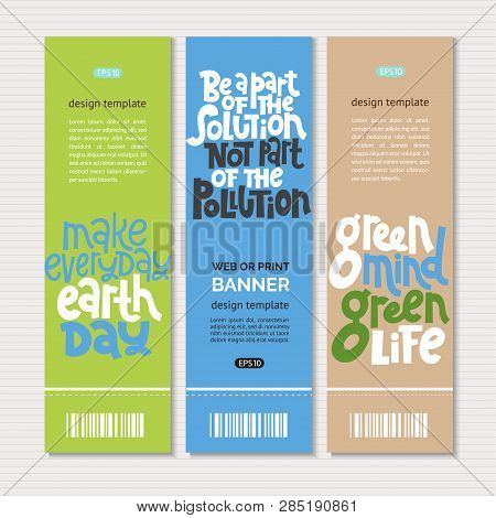 Web Or Print Vertical Banners Design Template With Hand Drawn Lettering About Eco, Waste Management.