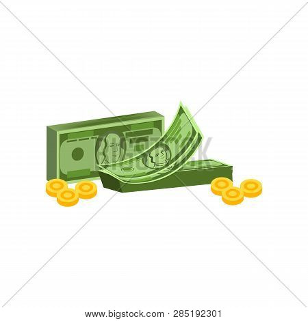 Counting Money Vector. Money Packs And Coins, Earning, Payment. Money Concept. Vector Illustration C