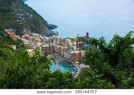Beautiful Small Town Of Vernazza In The Cinque Terre National Park. View On Vernazza Castello Doria
