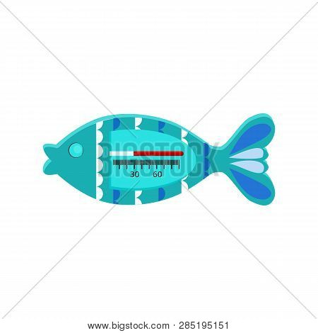 Water thermometer in shape of fish vector. Baby bathing, temperature control, toy thermometer. Thermometer concept. Vector can be used for topics like childcare, measurement, healthcare poster