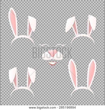 Vector Bunny Ears Mask Set Cartoon Illustration Isolated On A Transparent Background . Ostern Rabbit