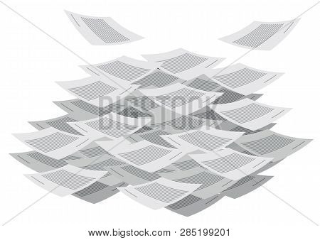 Messy Documents Flying Around. Stack Of Documents. Concept Of Paperwork, Business Document. Vector I