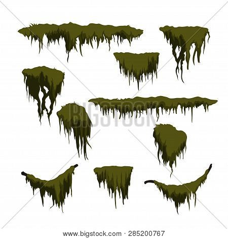 Green Swamp Moss On White Background. Forest Grass In Cartoon Style. Isolated Design Element. Game S