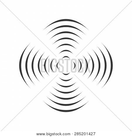 Pattern With Symmetric Geometric Ornament For Spinning Propeller. Black Circle Lines. 3d Optical Ill