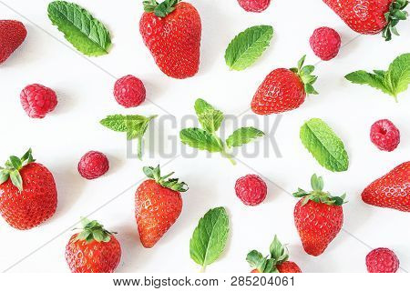 Styled Stock Photo. Closeup Of Healthy Fruit Composition With Strawberries, Raspberries And Fresh Gr