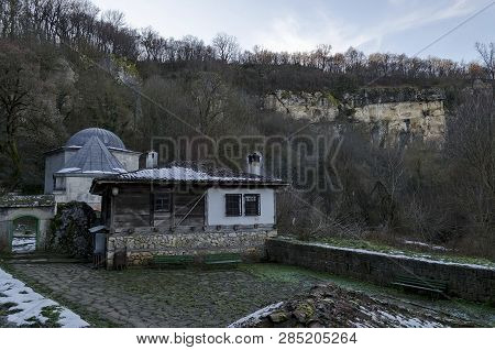 General look and roof oven spring source of Demir Baba Teke, cult monument honored by both Christians and Muslims in winter near Sveshtari village, Municipality Isperih, Razgrad District, Northeastern Bulgaria poster