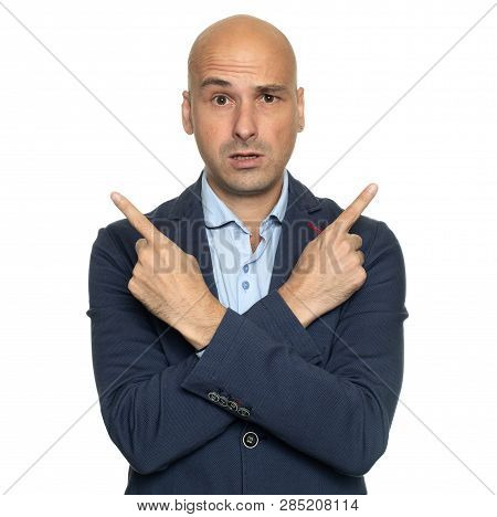 Confused Guy Pointing Hands At Different Directions