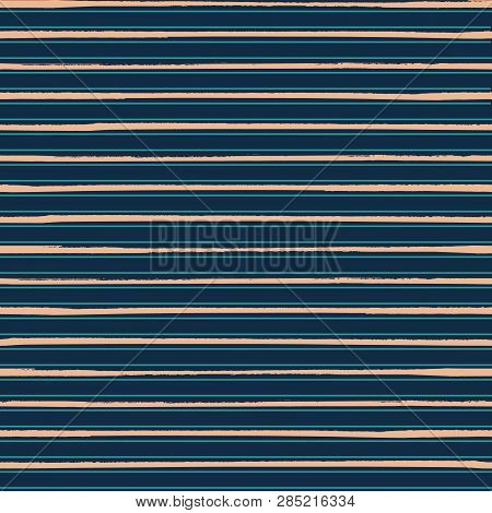 Luxurious Gold Rich Blue Striped Horizontal Geometric Design. Seamless Vector Pattern. Perfect For M