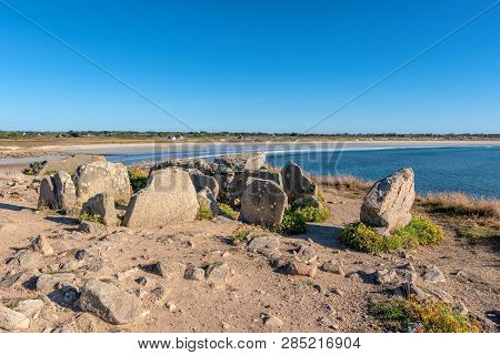 French Landscape - Bretagne. Beautiful Rocky Beach And View Over The Sea.